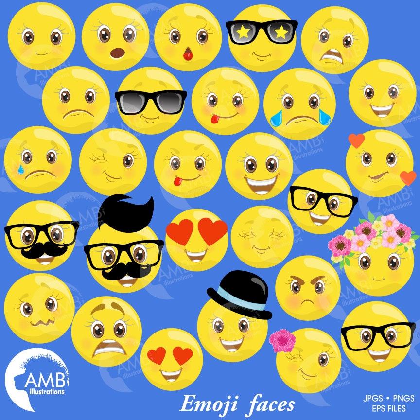 EMOJI Clipart Smiley-Gesicht Gefühle Clipart Emoji Clipart | Etsy