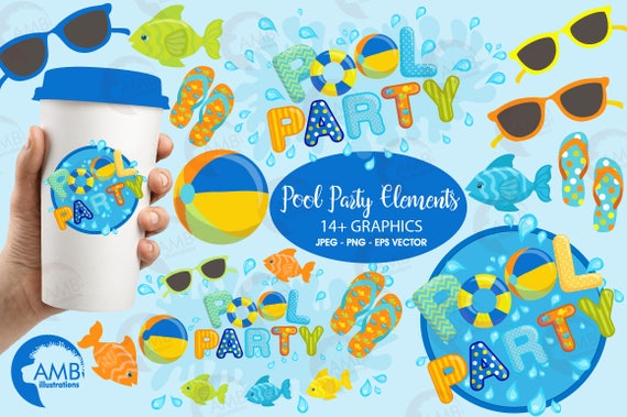 Pool Party Clipart Titles And Embellishments Invitations For Boys Birthday Commercial Use AMB 1260