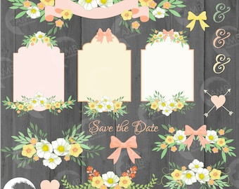 Wedding clipart, Rustic Wedding clipart, Wedding frame clipart, Bridal shower clipart, Floral Frames, shabby chic clipart, AMB-1312