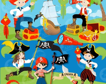 Pirate clipart, Boy Pirate, Buccaneer, Treasure Island, Pirate Birthday Party, Pirate Ship, Treasure Chest, Commercial Use, AMB-173