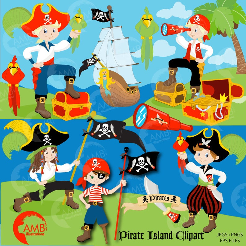 Pirate clipart Boy Pirate Buccaneer Treasure Island Pirate image 1