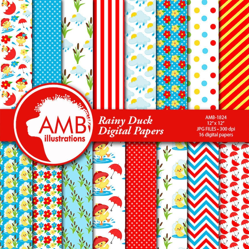 Duck Papers Rubber Duck Papers Red Umbrella Papers Cute image 1