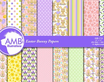 Easter Bunny Papers, Easter Eggs Paper, Comm-Use, AMB-2724