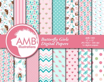 Butterfly Digital Papers, Girl Paper, Butterfly pattern, summer papers, Floral Digital Papers, Pink papers, commercial use, AMB-1083