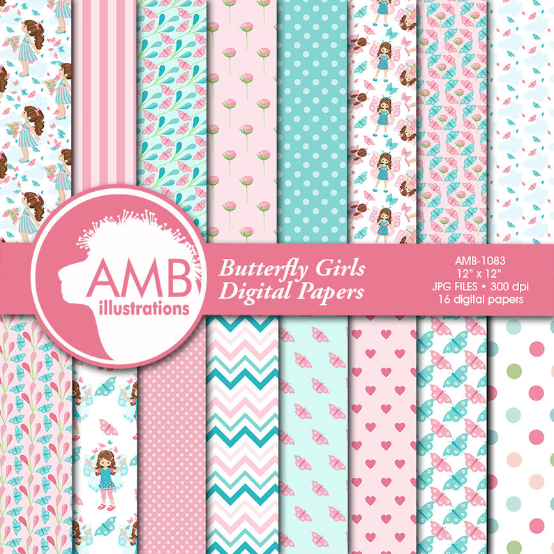 Butterfly Digital Papers Girl Paper Butterfly pattern image 1