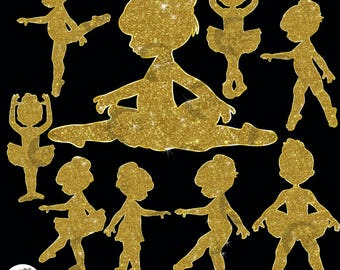 Ballerina Silhouette Clipart, Glitter silhouettes, Glitter clipart, Ballet silhouettes in Gold Glitter Clipart, Commercial Use, AMB-2224