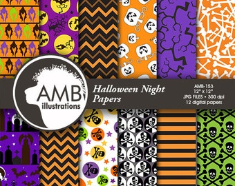 Halloween Digital papers, Pumpkin Papers, Halloween backgrounds, Bats and Cemetery patterns, Comm-Use, AMB-153