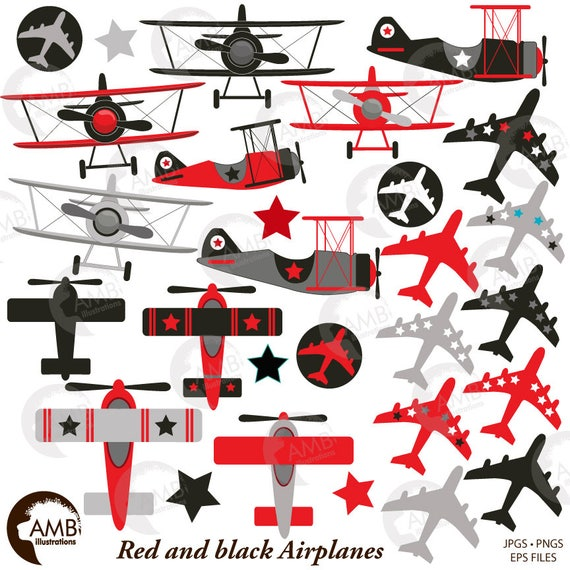 Airplane And Biplane Clipart Red And Black Plane Clipart Etsy