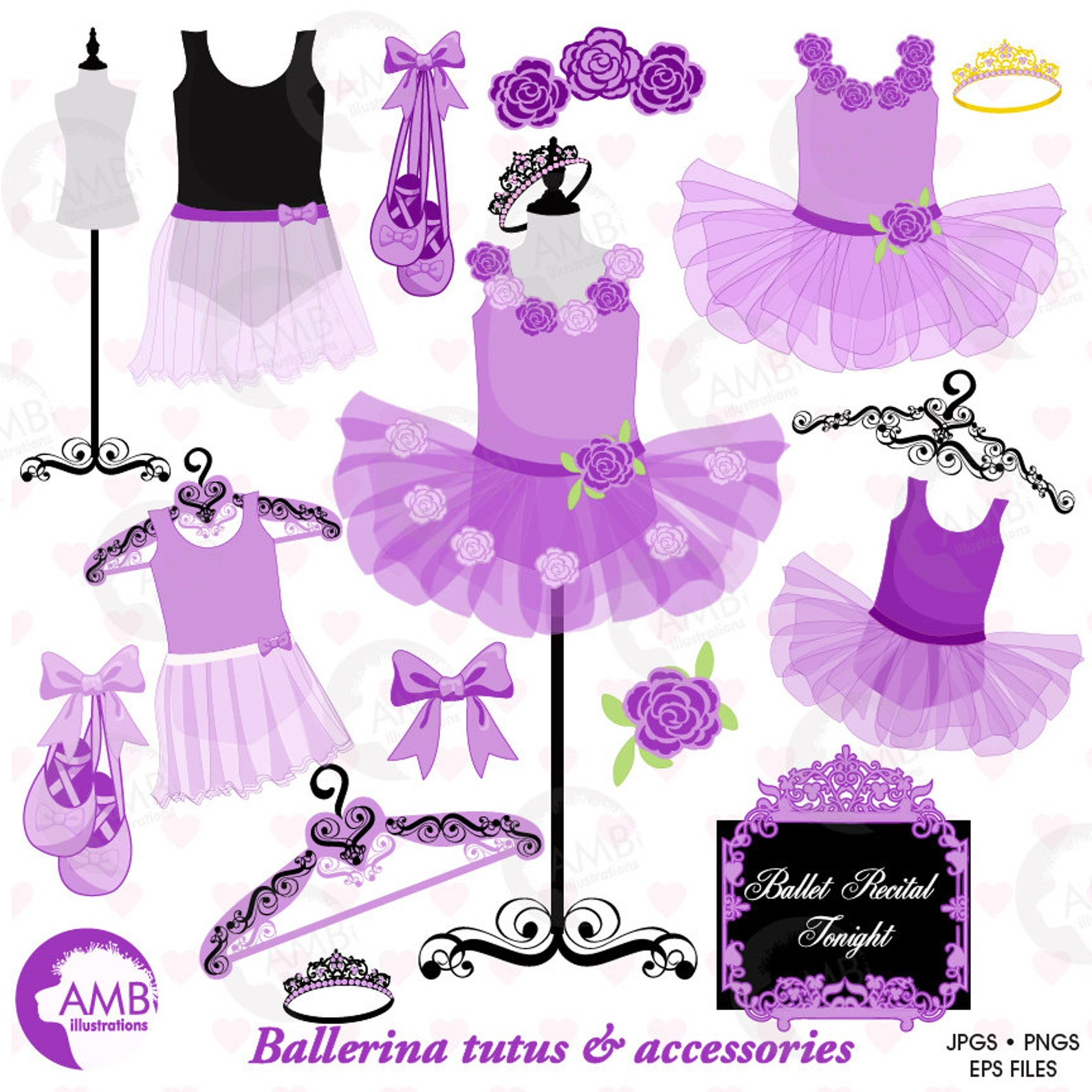 ballet clipart, ballerina clipart, ballerina tutus, lavender ballet costumes, for invites and scrapbooking, commercial use, amb-