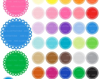 Scalloped frames, round labels, scalloped labels, commercial use, digital clip art, AMB-1140