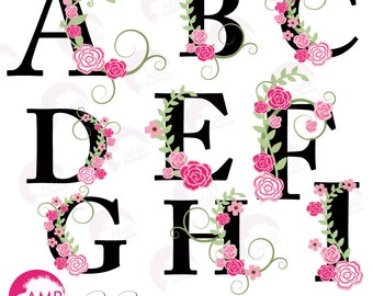 Floral Alphabet clipart, Letters A to I, Floral clipart, Wedding clipart, Commercial Use, AMB-932