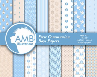 Christian Digital Papers, Boy or Girl First Communion Papers, Church Digital Paper,  Religious paper,  Commercial Use, AMB-1921