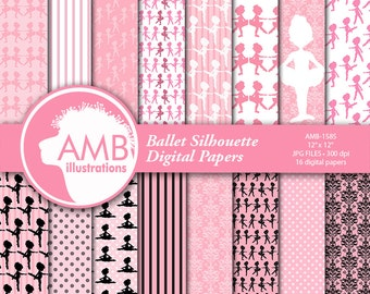Ballet silhouette digital papers, Ballerina scrapbook papers, Ballet silhouettes paper, Ballerina papers, Ballet papers, AMB-1585