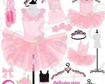 Ballerina tutus, Ballet clipart, ballerina clipart, Pink Ballet Costumes, for invites and scrapbooking, commercial use, AMB-2608
