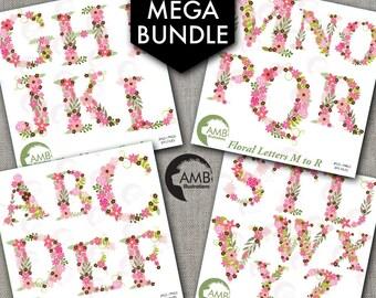 MEGA Bundle Floral Alphabet Clipart, Alphabet clipart Letters A to Z, Wedding Floral clipart, commercial use, AMB-1641