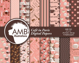 Coffee Digital Papers, Coffee Bean Papers, Cafe in Paris, coffee names, Coffee brown paper, cafe au lait papers, AMB-1565
