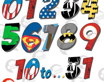 Superhero numbers clipart, Numbers clipart, Superhero numbers 1-31 School Clipart, commercial use, AMB-2110