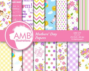 Mother's Day digital paper, Mother's Day floral digital papers, Mother Quotes, florals, ginghams, stripes, commercial use, AMB-1279