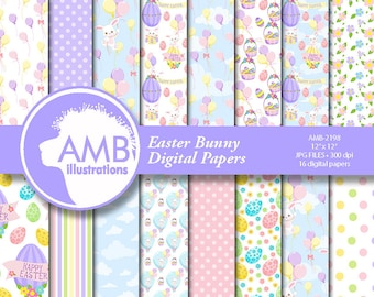 Easter Bunny Papers, Easter Paper, Scrapbook Easter Paper Patterns, Chocolate Easter Eggs Paper, Easter rabbit papers, AMB-2198