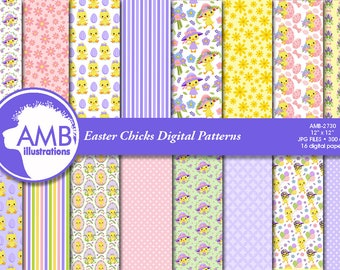 Easter paper, Easter Chicks Digital Paper, commercial use, AMB-2730
