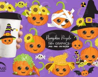 Pumpkin clipart, cute Pumpkin clipart, Halloween Clipart, Trick or Treat clipart, Halloween candy Clipart, Commercial Use, AMB-2645