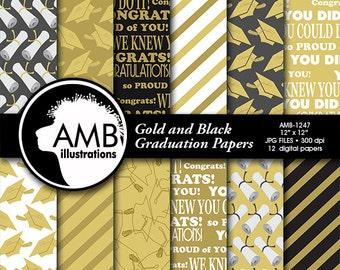 Graduation digital papers, Grad papers, Gold and Black Graduation, scrapbook papers, commercial use, digital download, AMB-1247