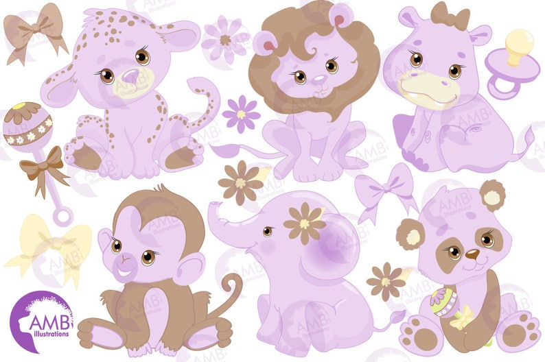 Jungle Animals Clipart Jungle Animal Babies Clipart Purple ...