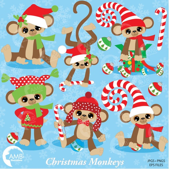 Christmas Monkey Clipart Card Design Clipart Candy Cane Clipart Christmas Decorations Commercial Use Amb 380