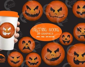 Scary moon clipart, Haunting halloween moons, Moon Clipart, Halloween Clip Art, Commercial Use, AMB-2651