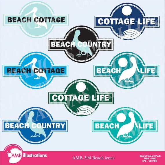 Beach Logo Icons Beach Graphic Sign Clipart Beach Sign Clipart Cottage Sign Clipart Commercial Use Amb 394 By Ambillustrations Catch My Party
