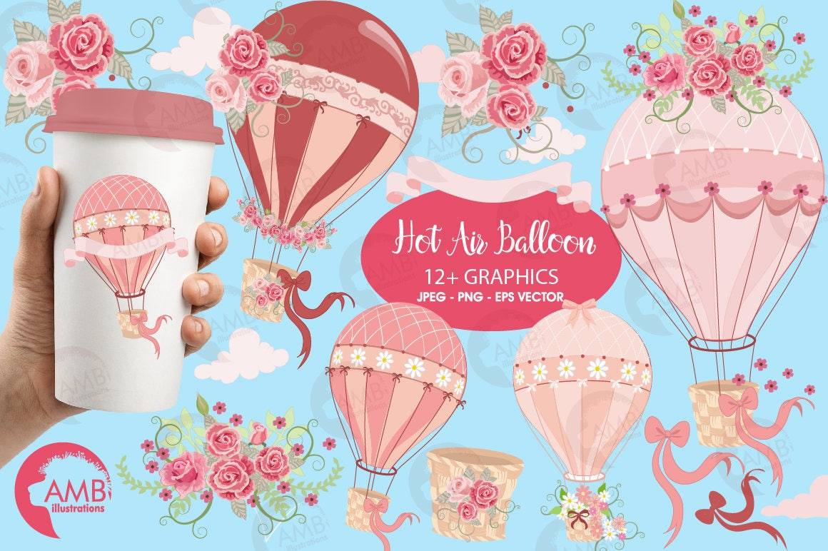Wedding clipart Hot Air Balloon Clipart Bridal Shower | Etsy