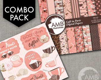 COMBO Coffee clipart, Coffee time clipart, Coffee frame clipart, Coffee pink and brown cups, Coffee words, Cafe Digital Papers, AMB-1710
