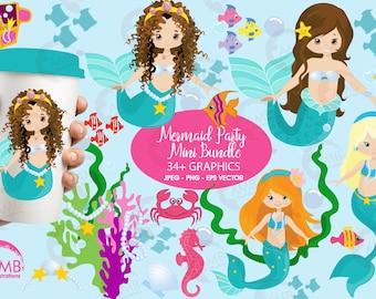 Mermaid clipart, commercial use, vector graphics, digital clip art, digital images, AMB-205