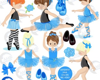 Ballerina clipart, Ballet clipart, blue ballerina, girl dancing, Ballerinas in blue, commercial use,  instant download, AMB-2603