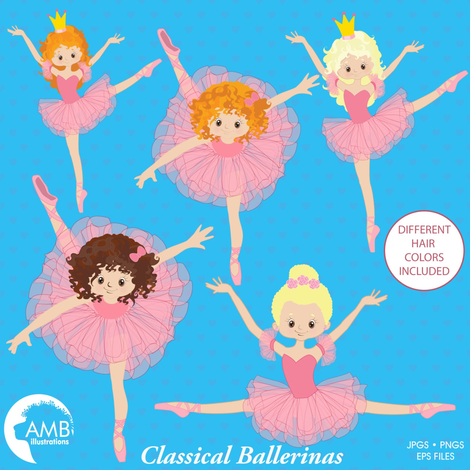 ballerinas dancing, clipart illustration, ballet dancers in pink, ballet recital clipart, commercial use, amb-1050