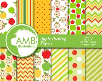 Apple digital papers, Apple themed papers, Apple picking, Harvest, Thanksgiving, Fall Themed Backgrounds, Comm-Use, AMB-135
