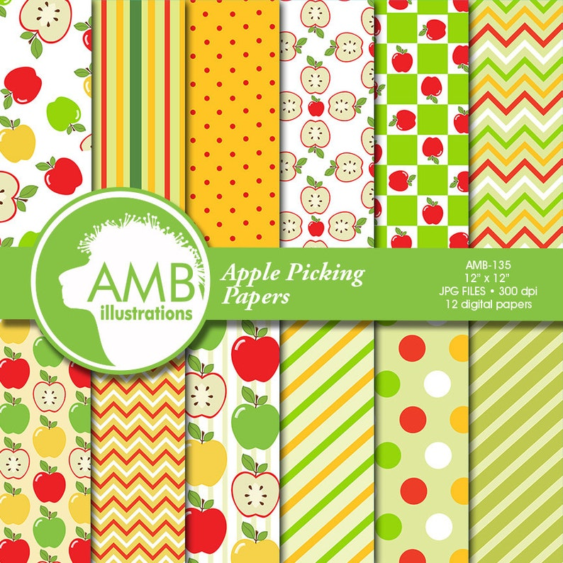 Apple digital papers Apple themed papers Apple picking image 1