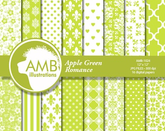 Floral Papers, Shabby Chic Apple Green papers, Wedding Digital papers, Floral papers, Green Lace Papers, AMB-1024