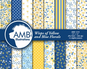 Shabby Chic paper,  blue and yellow floral paper, floral Digital Papers, Shabby chic floral, floral pattern, commercial use, AMB-1418