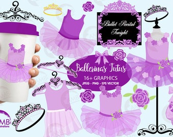 Ballet clipart, Ballerina clipart, ballerina tutus, Lavender Ballet Costumes, for invites and scrapbooking, commercial use, AMB-1318