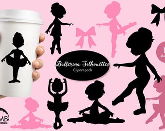 Ballerina silhouette clipart, Ballet silhouette clipart, pink ballerina silhouettes, black silhouette clipart, instant download, AMB-1584