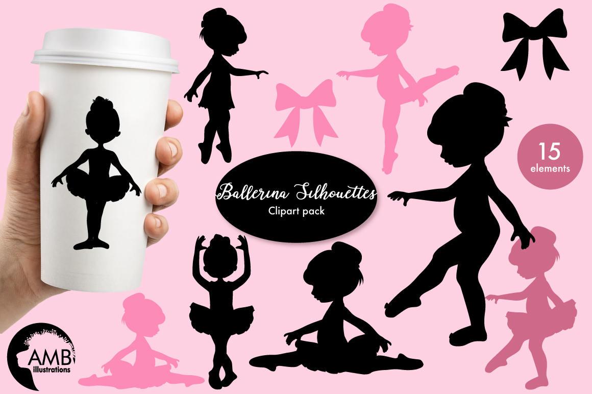 Ballerina silhouette clipart Ballet silhouette clipart pink   Etsy