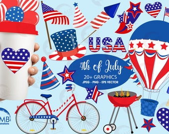 Fourth of July clipart, Independence Day clipart, American Patriotic Party clipart, BBQ Party clipart, commercial use, AMB-1367