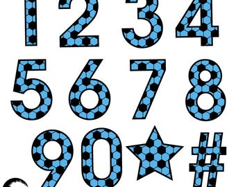 Soccer Number Clipart, Football Clipart, Sports Team Clipart, Soccer Themed Numbers in Blue, Numbers and Symbols, Commercial Use, AMB-1988