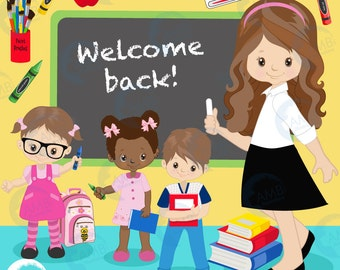 Back to school Clipart, classroom clipart,  teacher clipart, student clipart, books, crayons,  commercial use, AMB-1401