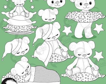 Teddy Bear Digital Stamps, Nursery, Slumber Party Stamps, coloring page, black and white line,Baby Shower Clipart, Commercial Use, AMB-984