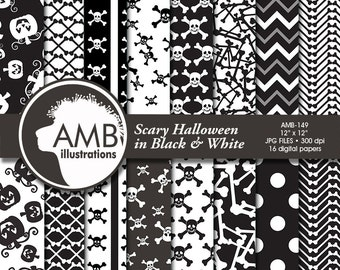 Halloween paper, Skull papers, Halloween digital backgrounds in Black and White, Halloween scrapbooking, comm use, AMB-149
