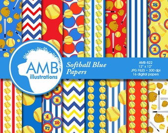 Softball Digital Papers, Baseball Backgrounds, Baseball patterns, sports papers, commercial use, instant download, AMB-822