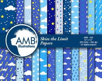 Weather Digital Papers, Clouds and Rain papers, Lightening papers, scrapbook, Commercial Use, AMB-342
