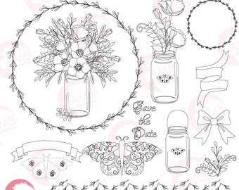 Shabby Chic Mason Jar Clipart, Mason Jar Digital Stamps, Butterfly Stamps Shabby Chic Florals, Country Chic Stamps, Commercial Use, AMB-1828